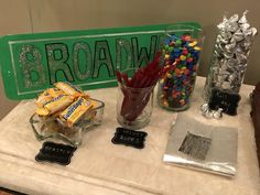 "Broadway Party Candy Names: Kit ""Cats,"" Wicked Snickers, In the Hershey Heights, ""Kiss"" the Girl (The Little Mermaid), Velvet Rope Twizzlers, I'm not throwing away my sourpatch, Beastly Butterfingers (Beauty and the Beast), Mamma Mia (M&Ms)"