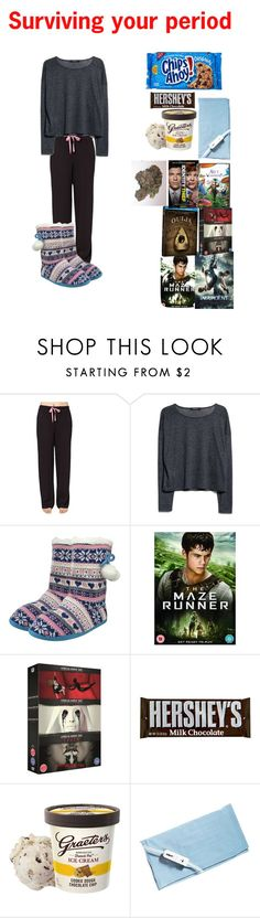 """""""Surviving your period"""" by pansexual-punk-14 ❤ liked on Polyvore featuring Cuddl Duds, MANGO, Paul Brodie and Conair"""
