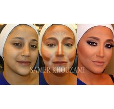 That's a lot of make-up but it is neat to see how to use color to contour.