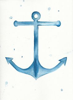 Anchor Watercolor Painting by RissDesign