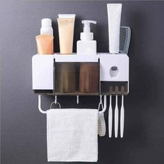 Purchase Toothbrush Holder Toothpaste Dispenser Multifunction Bathroom Toothbrush from Shenzhen Wanweile Network Tech on OpenSky. Wall Mounted Toothbrush Holder, Toothbrush And Toothpaste Holder, Toothbrush Storage, Toothpaste Squeezer, Cosmetic Storage, Bathroom Storage Boxes, Shower Shelves, Bathroom Organisation, Bathroom Ideas