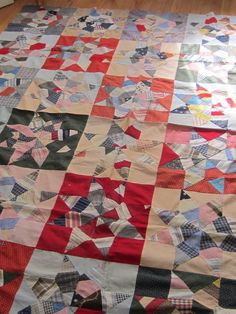 Amazing Antique Multicolored Touching Star Quilt Top 75X90, eBay, englishgarden10