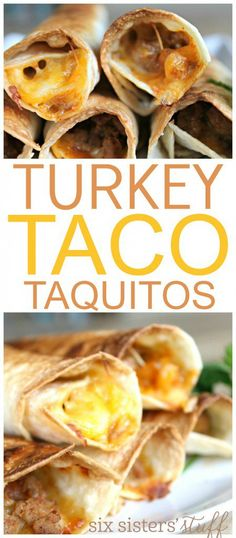 Turkey Taco Taquitos on SixSistersStuff.com | If you are looking for a quick and easy appetizer, snack, or favorite kid-friendly meal, these are perfect! Try dipping them in ranch, sour cream, salsa, or whatever else you want!