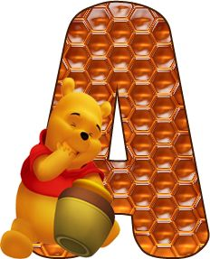 Alfabeto Decorativo: Alfabeto - Ursinho Pooh 1 - PNG - Completo - Maiús...