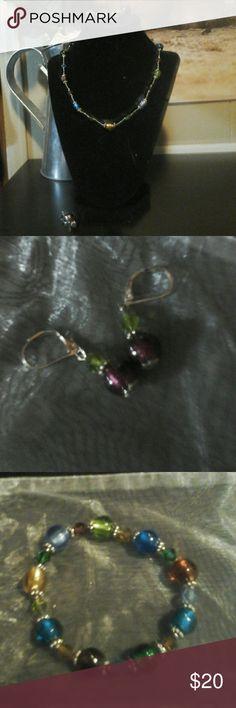 "Premier Designs ""Tessa"" Set Tessa necklace, stretchy bracelet, and earrings. Premier Designs Jewelry"