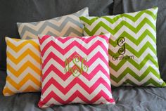 small chevron monogrammed throw pillow SLIPCOVER with zipper pink yellow blue green gray (pillow not included). $25.00, via Etsy.