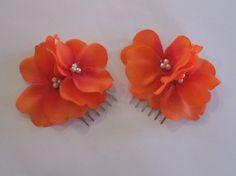 Orange Hydrangea Flowers with Pearls on by CraniumDecorAndMore, $4.00
