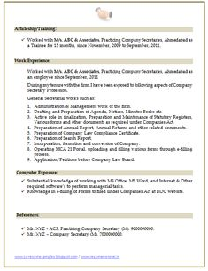 Secretary Resume Templates Company Secretary Resume Sample 3  Career  Pinterest  Company