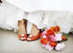 orange wedding shoes bridal