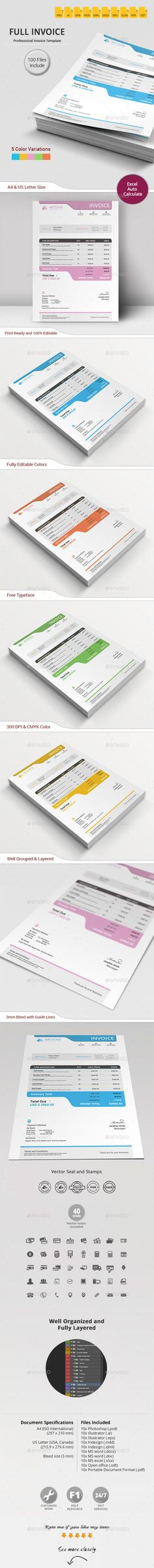 #Invoice - #Proposals & Invoices #Stationery Download here: https://graphicriver.net/item/invoice/11778374?ref=alena994