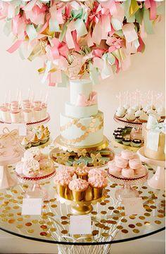 Tea party theme + decor - 100 layer cake