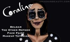 Coraline's Other Mother Halloween Makeup Tutorial - SmashinBeauty Face Paint Brushes, Face Paint Makeup, Makeup Brushes, Coraline Makeup, Black Face Paint, Beauty Makeup, Eye Makeup, Other Mothers, Black Eyeliner