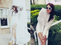 Quay Silver Sunnies, Miss Kl  White Dress, Jeffrey Campbell Silver Wood Platforms, Miss Kl  Shag Jacket