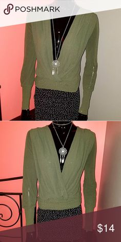 Green blouse Long sleeve, low cut, wrap style blouse. Great with pencil skirts. Soft and comfortable Tops Camisoles