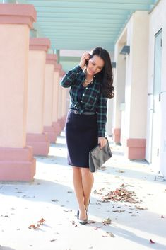 StylishPetite.com | J.Crew Perfect Shirt in Black Watch Plaid