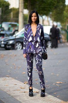 Prints in street style. Leigh Leizark at Paris Fashion Week Spring 2015 #prints #pfw