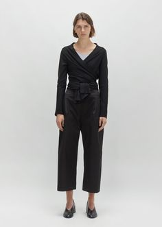 Crepe Wool Wrapover Cardigan by Lemaire- La Garçonne Christophe Lemaire, Black Cardigan, Cool Girl, Slim, Wool, Knitting, Pants, Fitness, How To Wear