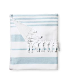 Woven in the tradition of fine Turkish towels, our version combines smooth cotton on one side with looped cotton terry on the other for added wicking. The generous size is a luxury; stripes and tassels bring a sense of style to the bath. And it gets loftier and more divine with each wash. At 425 grams, it's just the perfect weight and absorbency for those trips to the beach.