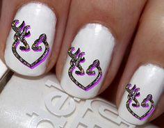 50 pc Purple Camo DBL Deer Doe N Buck Nail Decals Nail Art Nail Stickers Best Price NC515