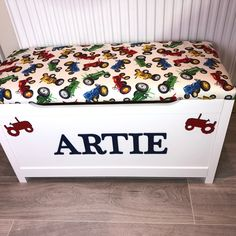 Personalised Tractor toy box. White Toy Box, Personalised Toy Box, All Toys, Toy Boxes, Bedroom Designs, Tractor, Toy Chest, Storage Chest, Furniture