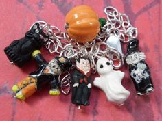 Halloween Characters Silver & Ceramic Charm Bracelet - witch ghost cat
