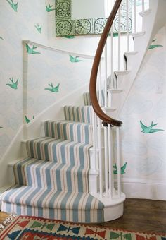 Daydream Wallpaper - Monument Interiors. Striped stair runner + wallpaper // entryway