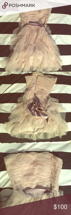 Dress Teezeme: Strapless gold and glittery ruffled midi dress with bow tie velvet string from Camille La Vie. Zipper on the back. Size 3.    Price negotiable! Dresses Midi