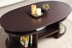 Walnut Coffee Table Multi-Shelf Modern Oval Wooden Living Room Storage Brown New Centre Table Living Room, Table Decor Living Room, Living Room Furniture, Oval Coffee Tables, Walnut Coffee Table, Coffee Table With Storage, Centre Table Design, Tea Table Design, Luxury Furniture