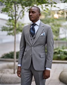Gray three piece. Very stylish yet classic ensemble.