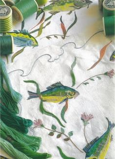 """""""Image from The Book of Fine Linens by Francoise de Bonneville, Published by Flammarion in 1994. This was the linen designed for Aristotle Onassis's yacht Christina and embroidered by the famous linen firm Porthault. It depicts the splendor of marine life and the execution is so perfect one can hardly tell the difference from the watercolour design in top left of image."""" PS Great blog!"""