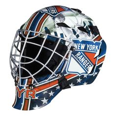 Franklin Sports GFM 1500 NHL Goalie Face Mask - Show off your official NHL colors by playing street hockey in this Franklin Sports GFM 1500 NHL Goalie Face Mask . This goalie face mask comes in your. Hockey Helmet, Hockey Goalie, Football Helmets, Ice Hockey, Field Hockey, New York Rangers, Street Hockey, Goalie Mask, Nhl News