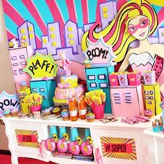 """What a fun party twist! Check out the """"Super Barbie"""" themed #birthdayparty on #KarasPartyIdeas.com today (direct link in profile to see all the details) by #cupcakesparanaentrerios! #Barbie #barbieparty #superbarbie #partyideas #partyplanning #barbiebirthdayparty #festabarbie #festainfantil #superheroparty #karaspartyideas"""