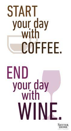 Empieza tu día con café. Termínalo con #vino. ¿Te apuntas?