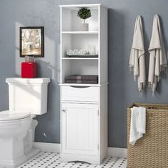 Find Ashland W x 60 H x D Free-Standing Linen Cabinet Andover Mills online. Shop the latest collection of Ashland W x 60 H x D Free-Standing Linen Cabinet Andover Mills from the popular stores - all in one Bathroom Standing Cabinet, Wall Mounted Bathroom Cabinets, Free Standing Cabinets, Toilet Storage, Bathroom Storage, Small Bathroom, Bathroom Ideas, Bathroom Towels, Bath Ideas