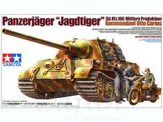 "Tamiya German ""Hunting"" Jagdtiger Scale New Model Series with Photo-Etched Parts. (No Motor) Otto Carius, Tamiya Model Kits, Tamiya Models, Plastic Model Kits, Plastic Models, Airfix Models, Tiger Tank, Tank Destroyer, Model Hobbies"