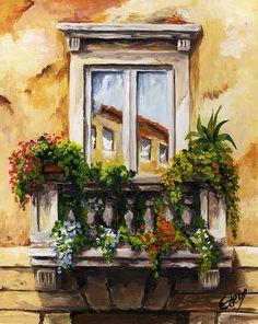 Balcony of Roma Canvas Print / Canvas Art by Edit Voros Watercolor Landscape Paintings, Watercolor Paintings, Original Paintings, Acrylic Painting Canvas, Art Oil, Flower Window, Fantasy Art, Canvas Prints, Fine Art