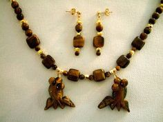 Tiger Eye Hand Carved Fish Necklace with Beaded Drop Earrings, Artisan Gemstone Jewelry by JewelrybyIshi, $75.00