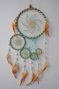 ✪ DREAMCATCHER - Large dream catcher in turquoise and gold with glassy beads. UNIQUE DESIGN. - CREATIVE GIFT for your loved ones. Creative additional to home, nursery, childrens room decor. - Handcrafted hoops from willow branches in the basis according to authentic traditions of NATIVE