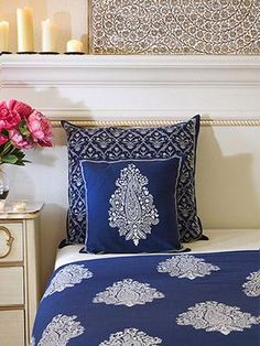 Navy Blue pillow sham, white paisley pillow sham cover, Co-ordinating pillow sham Navy Blue Pillows, Blue Cushion Covers, Small Room Bedroom, Bedroom Ideas, Make Your Bed, Mood Indigo, Indigo Blue, Decorative Cushions, Throw Cushions