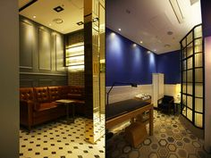 Each room was designed with various color patterns and concepts to give customers comfort and joy at the same time. ​Glittering titanium gold metal used for frames of the shower room, furniture, and lights enhanced the luxury of the shop.