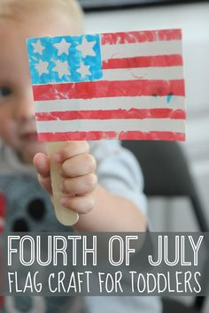 Fourth of july flag craft for toddlers toddler approved Toddler Art, Toddler Crafts, Toddler Activities, Elderly Activities, Classroom Activities, Patriotic Crafts, July Crafts, Patriotic Party, Craft Stick Crafts