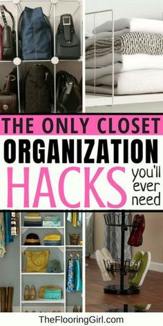 This list includes twenty closet organization hacks that will help you stay organized and simplify your life! These tips and tricks can help you utilize the space you have and give everything in your closet a dedicated space. Diy Hanging Shelves, Floating Shelves Diy, Diy Wall Shelves, Organisation Hacks, Closet Organization, Closet Storage, Bedroom Storage, Organizing Ideas, Bedroom Closets