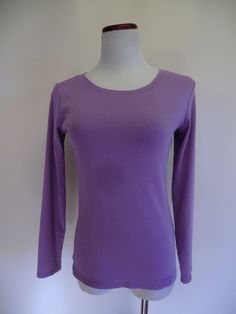 NEW J.JILL 100% PIMA COTTON ICED LILAC SCOOP NECK LONG SLEEVE TEE/ TOP SP #JJill #KnitTop #Casual