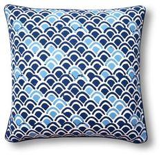 Scale 20x20 Cotton Pillow, Blue