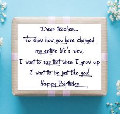 Greet your teacher with the best Happy Birthday Teacher wishes, messages and quotes. These teacher birthday wishes and cards are nice for teacher bday wish Happy Birthday Teacher Wishes, Best Wishes For Teacher, Birthday Quotes For Teacher, Happy Birthday For Her, Best Birthday Wishes, Birthday Wishes Quotes, Teacher Quotes, Birthday Greetings, Birthday Ideas