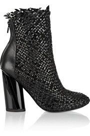 Woven matte and patent-leather ankle boots