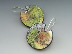 Abstract etched earrings of polymer clay by Stonehouse Studio
