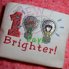 100 Days Brighter Applique - 4 Sizes! | back-to-school | Machine Embroidery Designs | SWAKembroidery.com that's SEW Grammie!