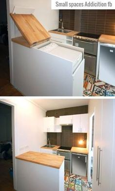 Countertop / washing machine furniture is a great way to hide this appliance.