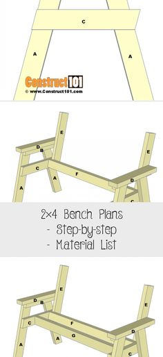 Bench Plans – Step-by-step – Material List - woodworking projects beautiful 2x4 Bench, Diy Wood Bench, Bench Plans, Free Prints, Woodworking Projects, How To Plan, Woodworking Crafts, Wood Carving, Woodworking